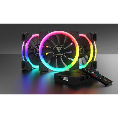 GAMDIAS ガンディアス RGB LED搭載 140mm ファン 3台セット AEOLUS M1 1403R [コントローラー付属]