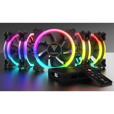 GAMDIAS ガンディアス RGB LED搭載 120mm ファン 5台セット AEOLUS M1 1205R [コントローラー付属]
