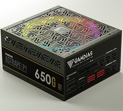 GAMDIAS ガンディアス RGB LEDファン搭載 PC用電源 ASTRAPEシリーズ 650Wモデル [ASTRAPE P1-650G 80 PLUS Gold フルモジュラー式]