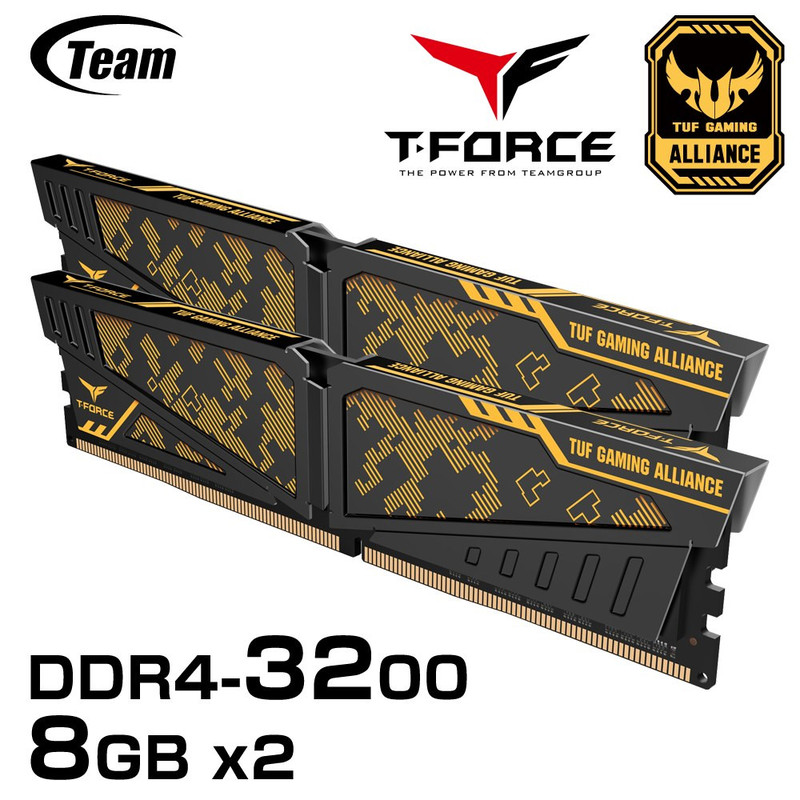 Team VULCAN TUF Gaming Aliance DDR4 3200 OCメモリ 8GBx2 [TLTYD416G3200HC16CDC01]
